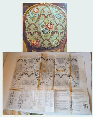 Eva Rosenstand vintage cross-stitch pattern: Seat cover with roses and swirls