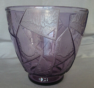 MONUMENTAL French Art Deco Amethyst Highly Stylized Acid Etched Daum Nancy Vase