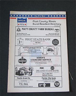 Piatt County, Illinois IL Rural Resident Directory 1976 residence map Monticello