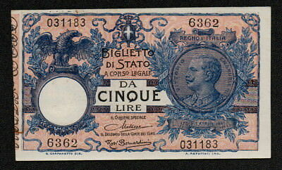 ITALY (P023g) 5 Lire ND(1924) aUNC+ Series #6362 SCARCE!