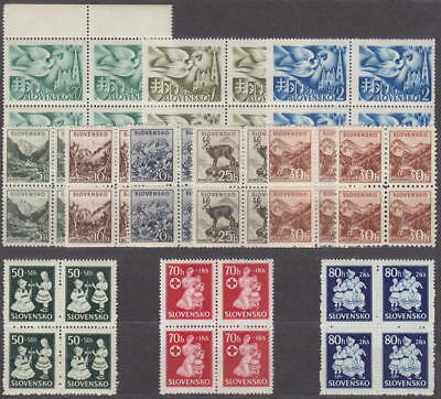 SLOVAKIA - NAZI OCCUPATION - 3x COMPLETE SET in 4-BLOCK 1940-+1942+1943 -**MNH**