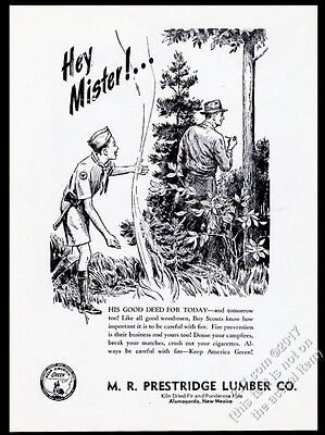 1954 Boy Scout alerts smoking man to forest fire Prestridge Lumber NM print ad