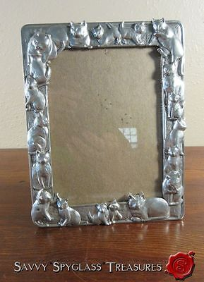 """1990 Seagull Pewter Picture Frame Kitty Cats Kitten 4"""" x 6"""""""