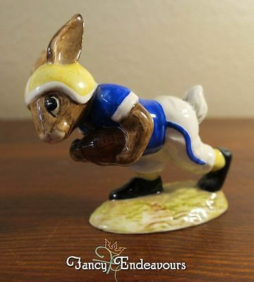 Royal Doulton Bunnykins Figurine Touchdown Football Rabbit Charging with Ball