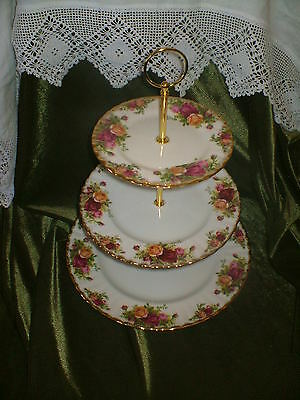 Excellent  Royal Albert  China Plated 3 Tier Cake Stand Old Country Roses