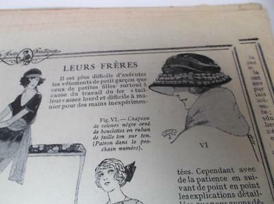1920s vintage cloche hat  French antique sewing pattern