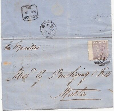 1860 6d NO CORNER LETTTERS  CAT £240 ON COVER VIA MARSEILLE TO MALTA 99p START!!