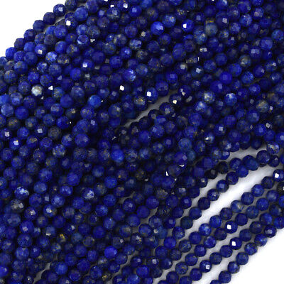 """Natural Faceted Blue Lapis Lazuli Round Beads 15.5"""" 2mm 3mm 4mm 6mm 8mm 10mm"""