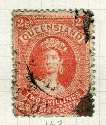 AUSTRALIA  QUEENSLAND early 1800s QV Stamp Duty issue used 2s. 6d. value