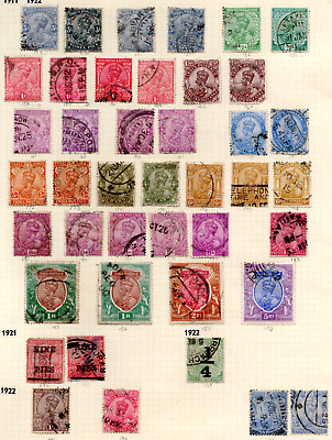 INDIA  KGV   1911-22  USED SET with SHADES to 5R