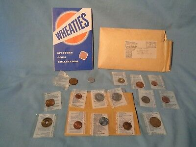 1950's vintage WHEATIES MYSTERY COIN COLLECTION Cereal Premium GENERAL MILLS