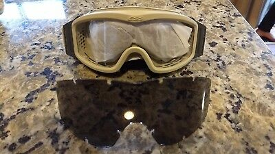 MILITARY GOGGLES ESS DESERT CLEAR and DARK LENSES SAFETY * NEVER USED! ARMY SNOW