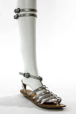 Ecote Silver Leather Round Toe Strap Up Sandals Size 7.5