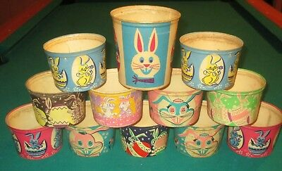 Lot of 12 1950's Vintage BUNNY EASTER WAX Cottage Cheese Containers Dixie Lily