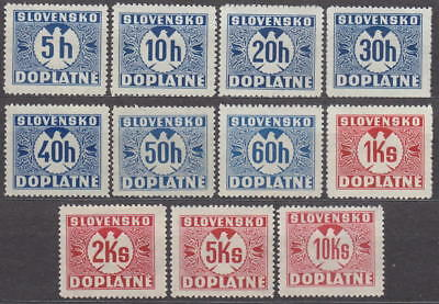 SLOVAKIA - 1940 NAZI GERMANY OCCUPATION - COMPLET POSTAGE DUE Mi. 13-23 -*MLH*
