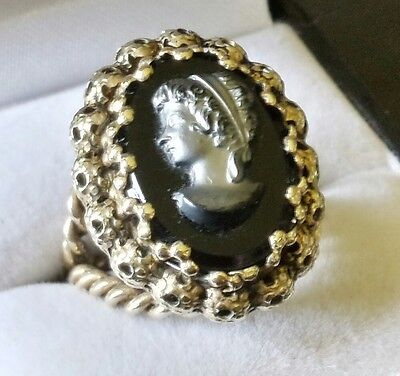 Vintage, Braided Brass Cameo Ring.WEST GERMANY