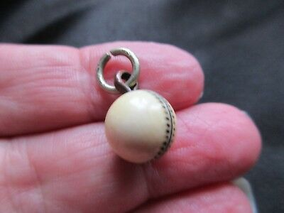 Antique Vintage Victorian Rare Cricket Ball Carved White Watch Fob Charm Pendant