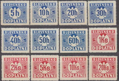 SLOVAKIA - 1939 NAZI GERMANY OCCUPATION - COMPLET POSTAGE DUE Mi. 1-12 - *MLH*