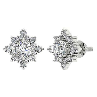 SI1 H Cluster Studs Earring 1.80Carat Genuine Diamond 14K Solid Gold Prong Set