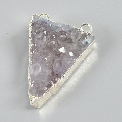 Uneven Triangle Agate Druzy Geode Connector Silver Plated B037597