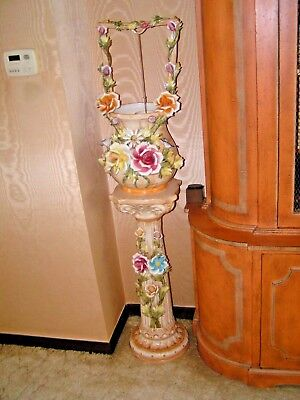 """Vintage Capodimonte Porcelain Wishing Well Pedestal Stand 57"""" Antique One Owner"""