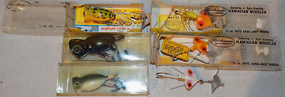 Rare Vintage Lot Of 6 (3 New) Arbogast Hula Popper Hawaiian Wiggler Fishing Lure