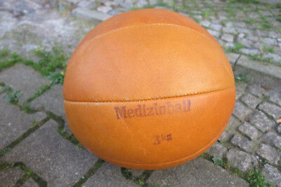 1x DDR Medizinball FAVORIT Taucha 70s Ball Fitness 3kg TRUE VINTAGE leather ball
