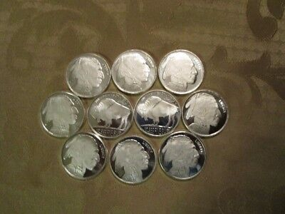 1 oz silver rounds lot of 10 Mint Buffalo Indian 1 troy ounce .999 fine silver