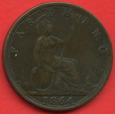 1864 Great Britain 1 Farthing Coin