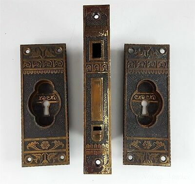 Antique Eastlake Pocket Door Hardware Set Bronze, Pulls, Mortise