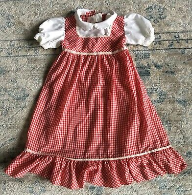 Vintage Toddler Girl Sears Red & White Gingham Apron Dress Size 2T