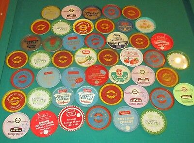 Lot of 47 Pittsburgh Area 1950's Vintage Cottage Cheese LIDS ONLY Otto Belle