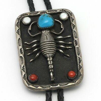 Vintage Native American Bolo Tie Sterling Silver Scorpion Turquoise Coral Shell