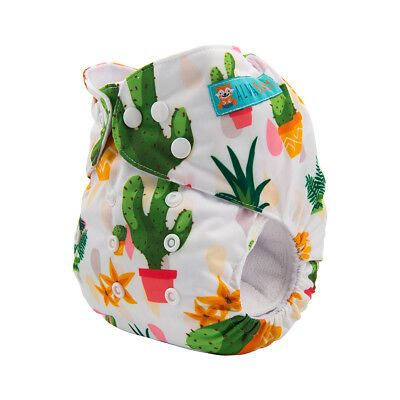Alva Baby Reusable Cloth Diaper One Size Washable Pocket Nappy +Insert Cactus