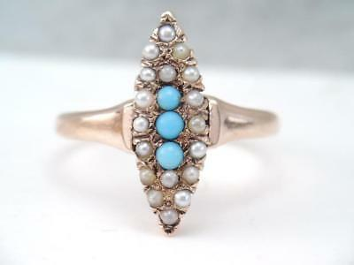 Antique Victorian 10K Rose Gold Turquoise & Seed Pearl Ring $9.99 Sz 6 1/2.