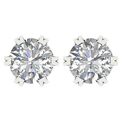 Solitaire Studs Earrings Genuine Diamond I1 G 2.01Ct Six Prong 14Kt Solid Gold