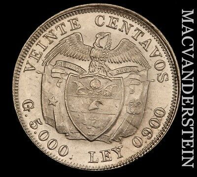 Colombia: 1953 Twenty Centavos - Silver!!  Brilliant Uncirculated!!  #w565