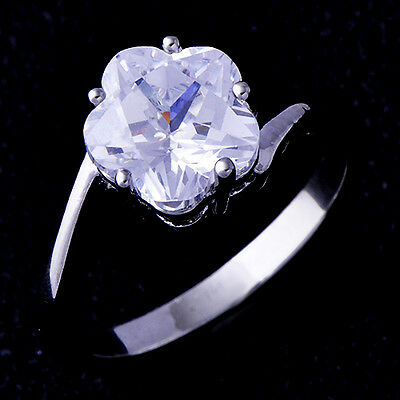 Wedding Stainless Steel Ring Cubic Zirconia Flower White Gold Filled Size 6