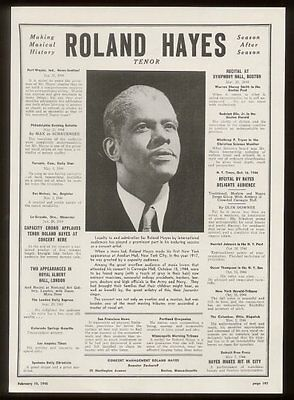 1945 Roland Hayes photo song recital trade booking ad