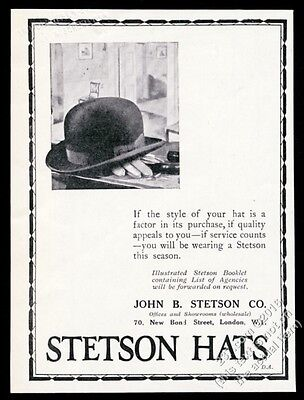 1928 Stetson bowler hat photo unusual UK vintage print ad