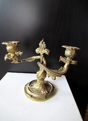 Vtg Antique Edwardian Ornate Brass Candle Holder For Two Candles