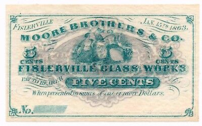 Fislerville Glass Works New Jersey Fractional 5 Cent Banknote Moore Brothers Co.