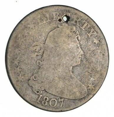 1807 Draped Bust Quarter  - Circulated *Condition: Hole *1309