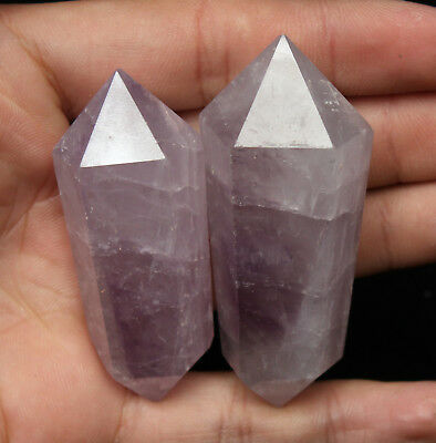75g 2pcs  NATURAL PREETY AMETHYST CRYSTAL QUARTZ DT WAND POINT HEALING
