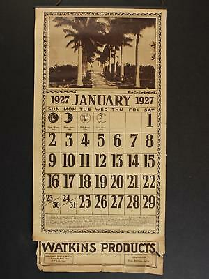 1927 WATKINS PRODUCTS COMPLETE CALENDAR~12 Pages with backside advertising