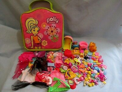 Polly Pocket LOT of Doll Clothes and Accessories Case Bag Carrier!