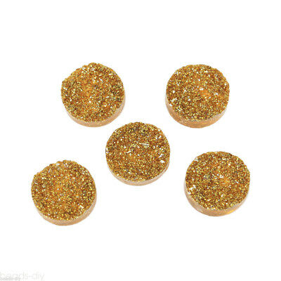 20PCs Yellow Round Resin Embellishment Findings For Jewellery DIY 12mm