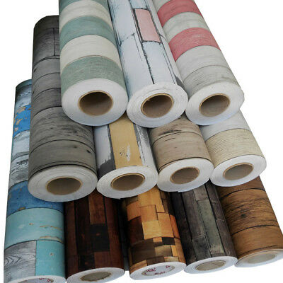 3.28ft Wallpaper Self-adhesive Waterproof Paste Home Wooden Stickers Decoration