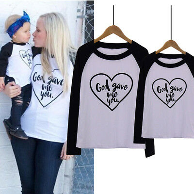 Fashion Family Matching Outfits T-shirt Mother Daughter Son Baby Long Sleeve Top