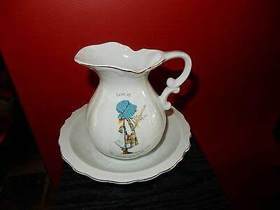 Vintage Holly Hobbie Love Is The Nicest Gift Of All Medium  Jug and Bowl
